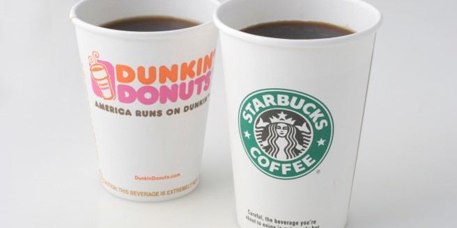 WASHINGTON, DC - SEPTEMBER 06: Dunkin' Donuts and Starbucks coffee cups. Photographed in the Washington Post Studio on September 6, 2006, in Washington, DC. (Photo by Julia Ewan/The Washington Post via Getty Images)