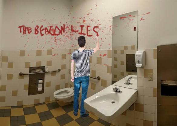 School Bathrooms students asked to stop smearing 'the beacon lies' in blood on